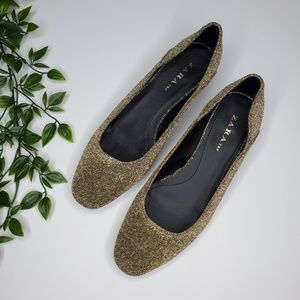 NWOT Zara Size 7.5 Golden Ballet Flats